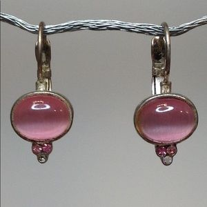 Fashion Drop Earrings in Pink and Silvertone